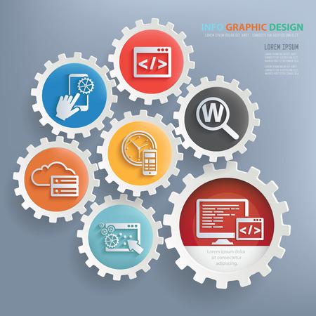 Sviluppo web e seo disegno disegno infografica, vettore pulito