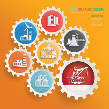 turbin: Factory and industry infographic design,clean vector Illustration
