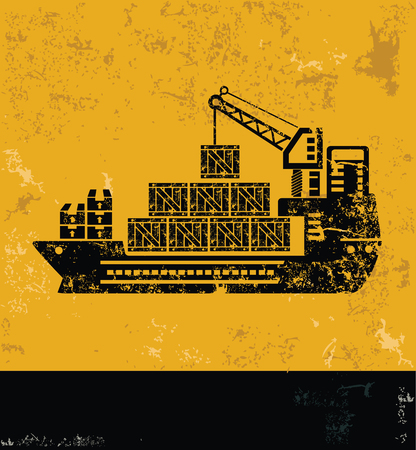 hull: Cargo,shipping boat,container concept design, yellow grunge vector Illustration