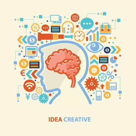 pondering: Brain,idea design,vector Illustration