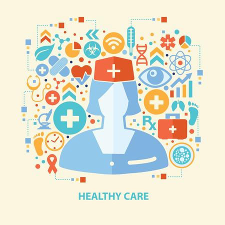 fullbody: healthy care design,vector Illustration
