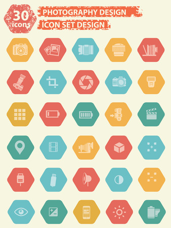 neutral density filter: Photography icons design,vector