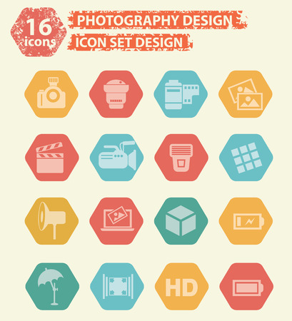 photography icons: Photography icons concept design,vector