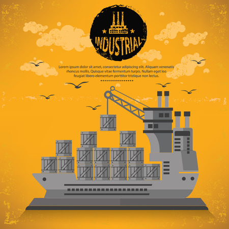 shipyard: Container ship concept design,vector