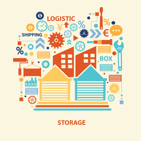 storage: Storage concept design,vector
