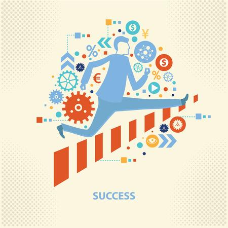 success: El hombre de negocios, diseño de concepto de éxito, el vector