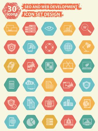 SEO Ontwikkeling iconen ontwerp, vector