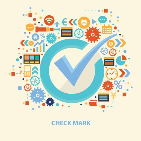 quadrate pictogram: Check mark design,vector