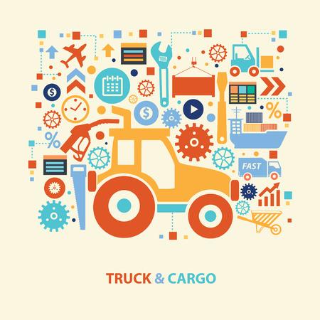 driving range: Truck and cargo design,vector Illustration