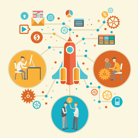 geeky: Business start up,rocket design,vector Illustration