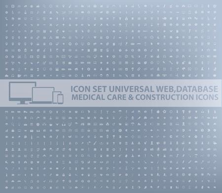 Big icon set,business,web,database,medical,construction design,vector Illustration