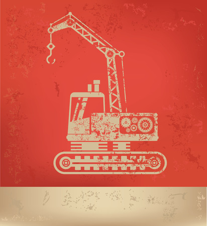 compact track loader: Construction car on red background,grunge Illustration