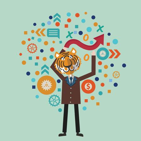 overworking: Tiger human concept design,vector
