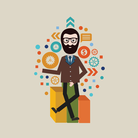 multitask: Businessman concept design,vector