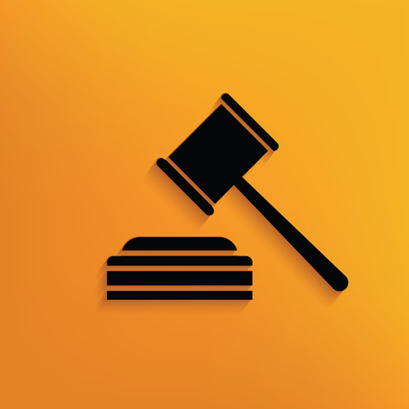 arbitrate: Hammer,law concept design,vector