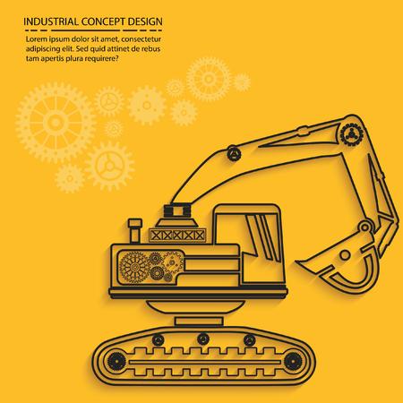 Excavator concept design,vector
