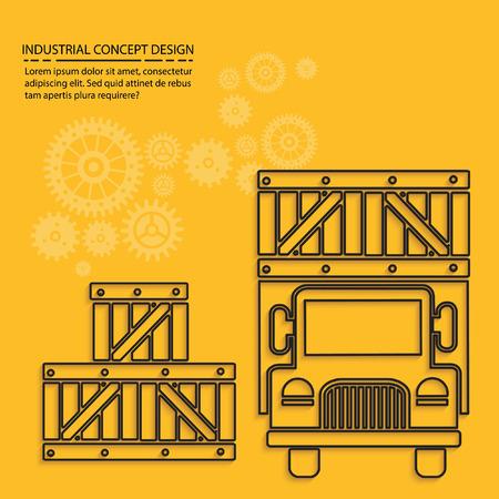 driving range: Cargo,truck concept design,vector