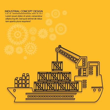 dock: Container ship concept design,vector