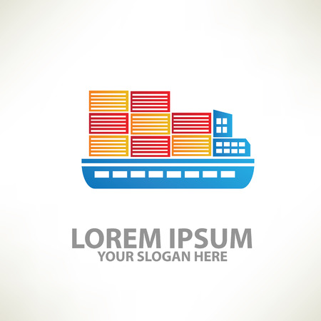 commercial tree service: Container ship,ship design,vector Illustration