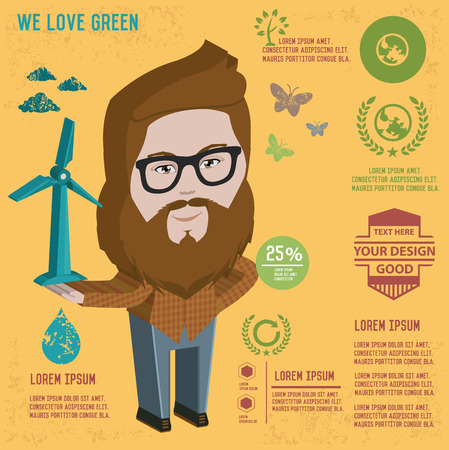 bakelite: Hipster character design with hipster elements and icons.Vector illustration Illustration