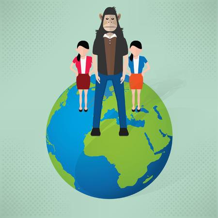Monkey businessman concept design Illustration