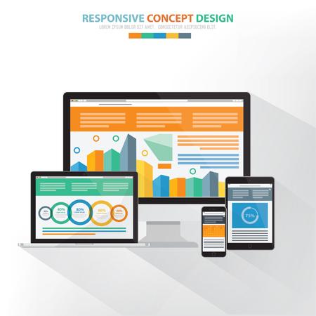 responsive: Responsive computer concept design,vector Illustration