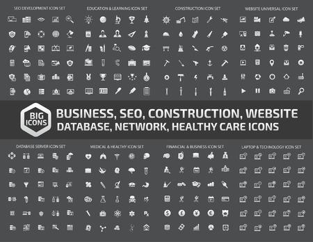 Big jeu d'icônes, icône d'affaires, icône web, icône médicale, la construction icône, communication icône, vecteur Vecteurs