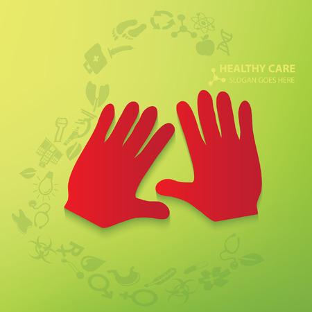 eye bandage: Hand,medical concept design,vector Illustration