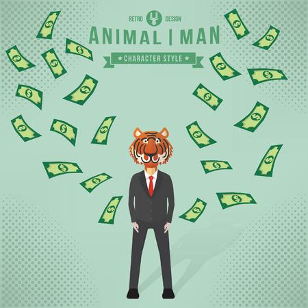 overworking: Tiger businessman concept design,vector Illustration