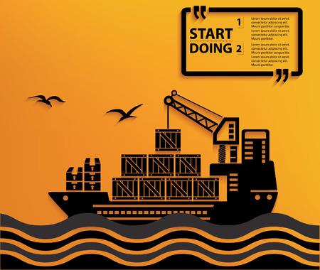 bulk carrier: Container ship concept design,vector