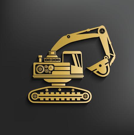 ditch: Excavator concept design,vector