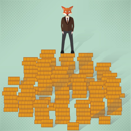 multitask: Fox businessman concept design,vector