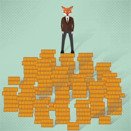 desk clerk: Fox businessman concept design,vector