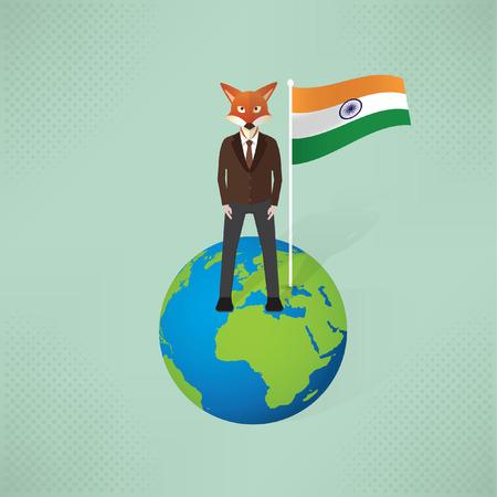 Fox businessman,idea flag concept design,vector Illustration
