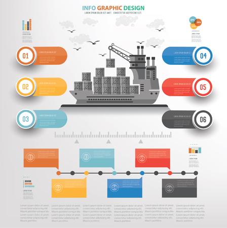 Porte-conteneurs, logistique, concept design d'expédition, vecteur Vecteurs