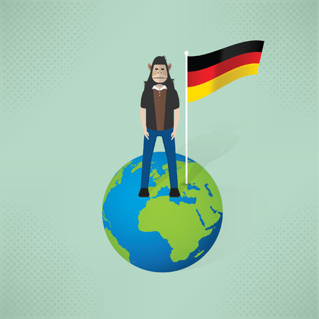 famous people: Germany,monkey man concept design,vector