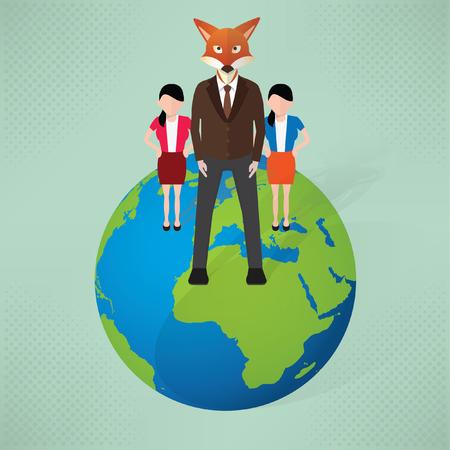 Fox leader,Businessman, concept design,vector Illustration
