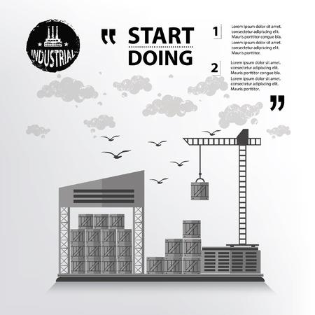 smokestack: Warehouse concept design,vector