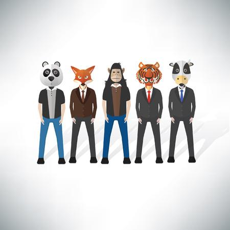cartoom: Animal businessman concept design,clean vector Illustration