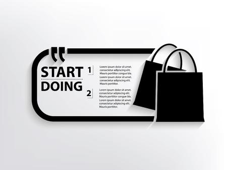 Shopping bag concept design,clean vector Illustration