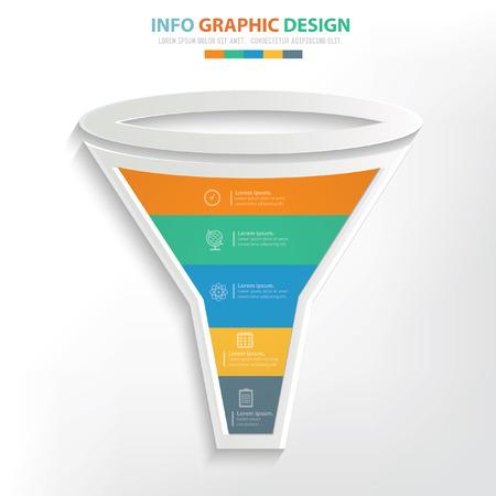 outflow: Funnel filter concept design,clean vector Illustration