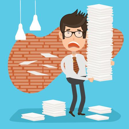 businessman pondering documents: Businessman design,clean vector Illustration