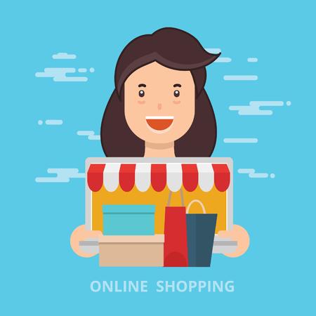 Online shopping design,clean vector
