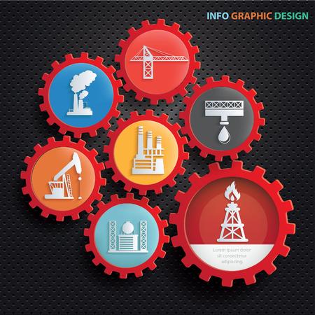 sea pollution: Oil industry info graphic design,clean vector