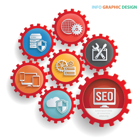 SEO ontwikkeling info grafisch ontwerp, schone vector
