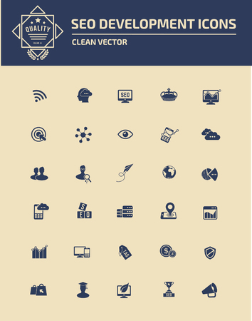 SEO ontwikkeling icon set design, schone vector