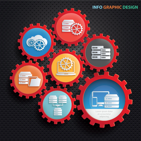 Database and network info graphic design,clean vector