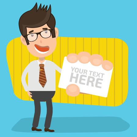 pondering: Businessman design,clean vector Illustration