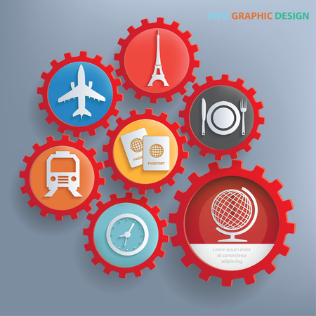 foto carnet: Travel info graphics design, clean vector Vectores