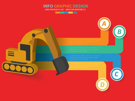 Excavator design,clean vector